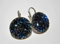 AG 925 Crystal Rocks Swarovski Bermuda Blue 15mm