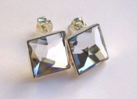 AG 925 Asymetric Square SWAROVSKI Crystal CAL 10mm